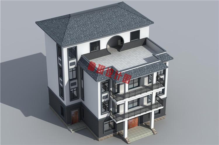 新中式四层独栋房屋设计外观图