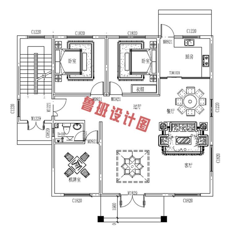 新中式四层独栋房屋设计一层户型图