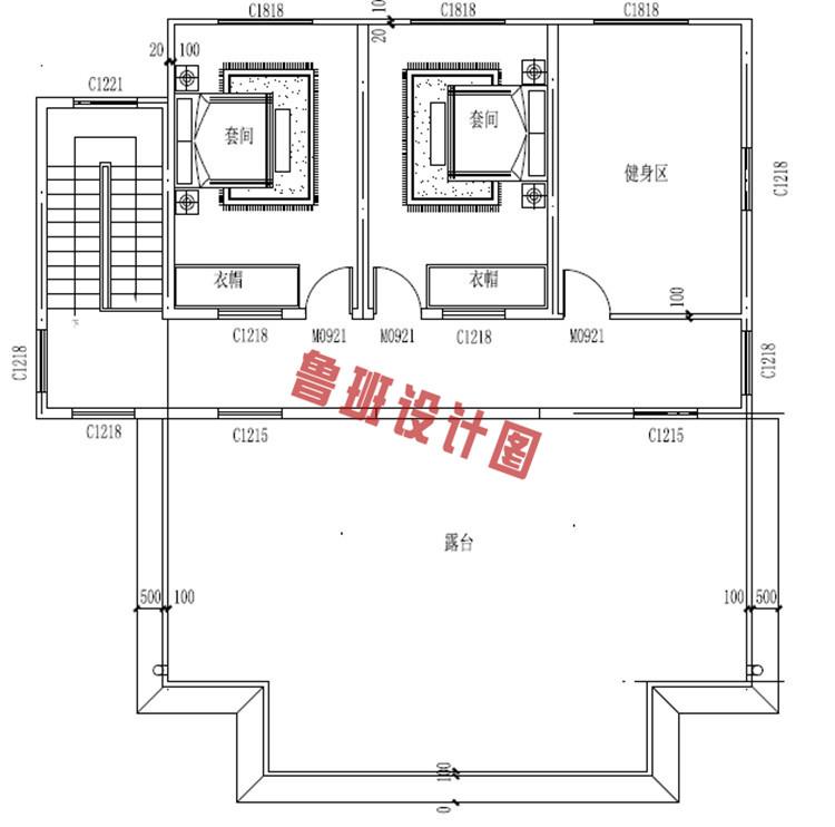 新中式四层独栋房屋设计四层户型图