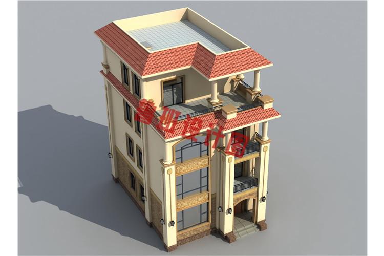 四层欧式别墅设计鸟瞰图