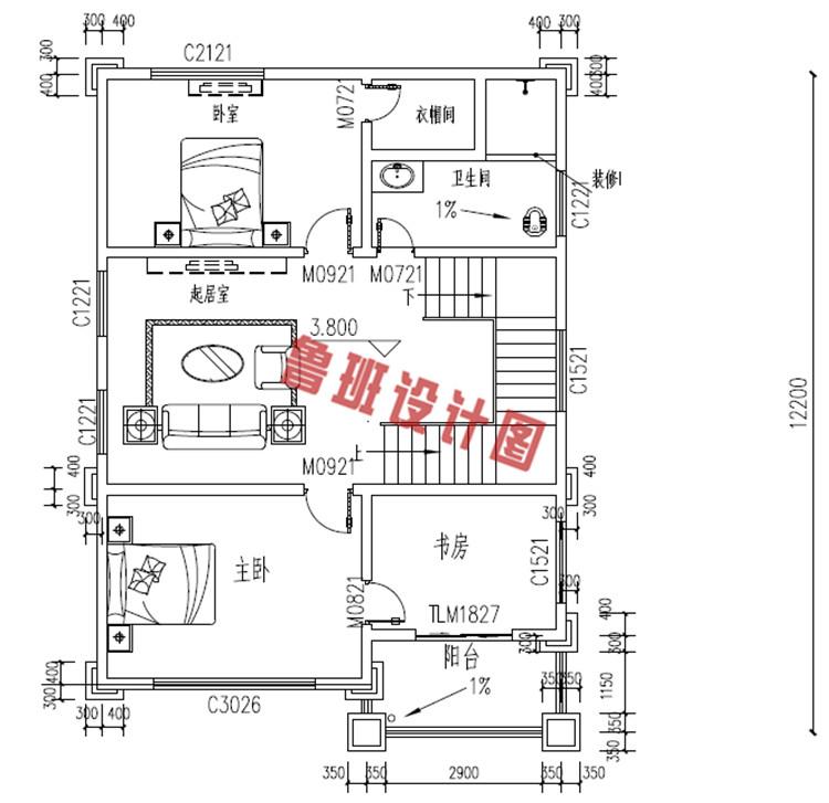 四层欧式别墅设计二层户型图