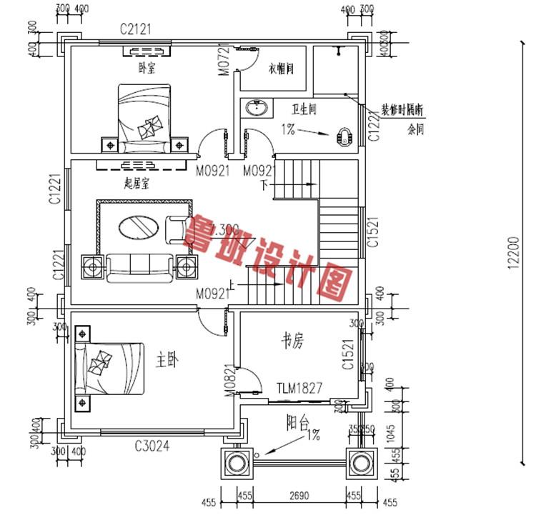 四层欧式别墅设计三层户型图