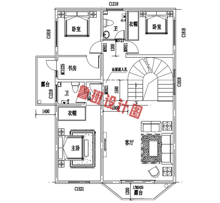 欧式风格四层自建房设计四层户型图