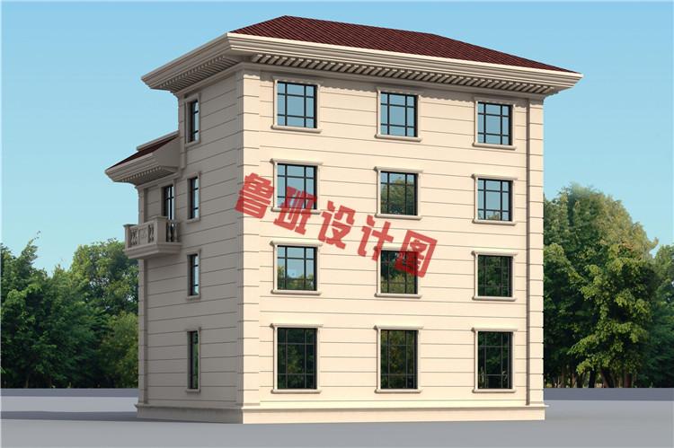 农村四层别墅自建房屋设计背面图