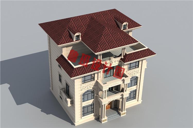 农村四层别墅自建房屋设计鸟瞰图