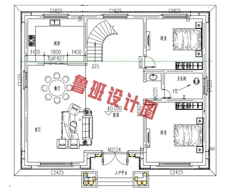 农村四层别墅自建房屋设计一层户型图