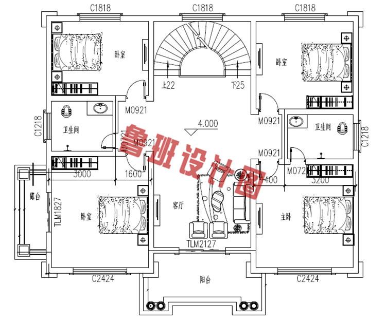 农村四层别墅自建房屋设计二层户型图