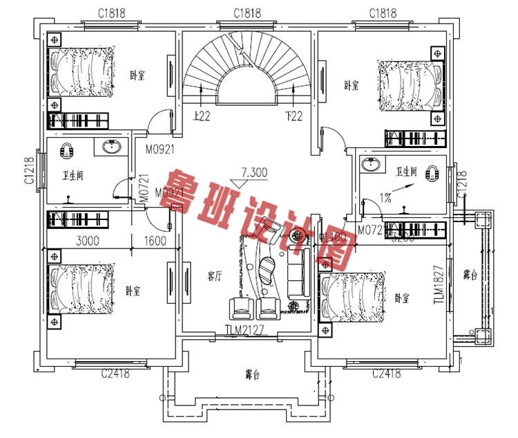 农村四层别墅自建房屋设计三层户型图
