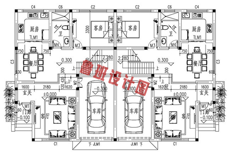 新中式二层双拼小别墅推荐一层户型图