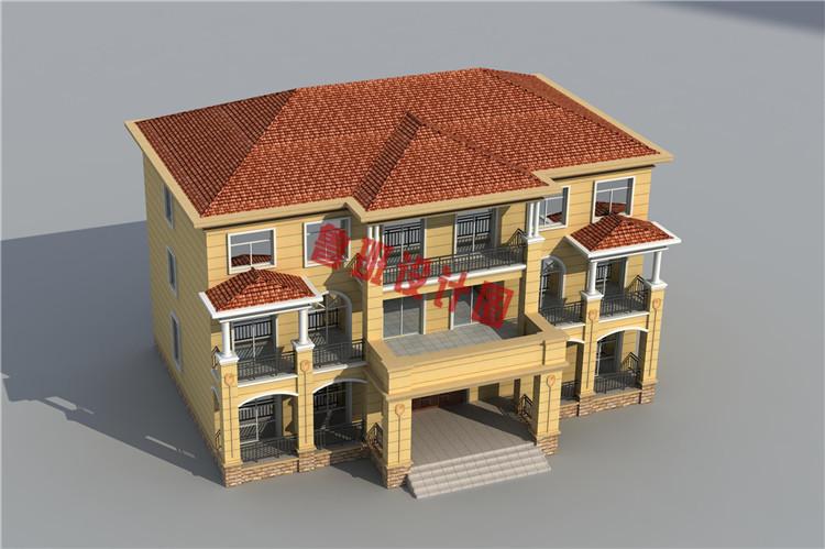简约欧式三层双拼别墅设计鸟瞰图