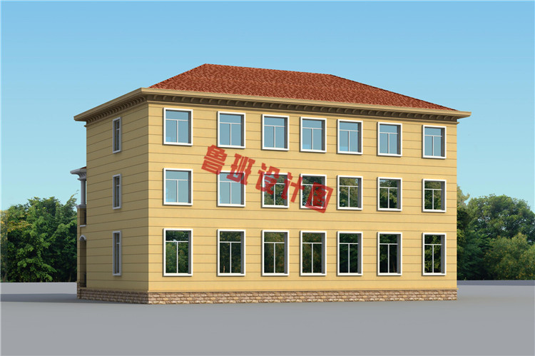 简约欧式三层双拼别墅设计外观图