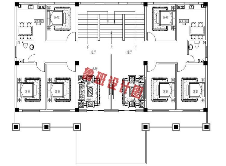 简约欧式三层双拼别墅设计二层户型图