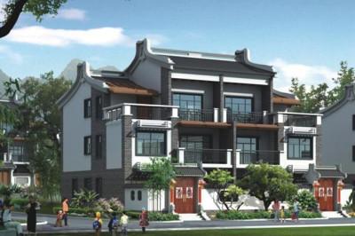 农村徽派三层双拼自建房屋设计图,风格独特,结构严谨,雕镂精