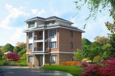 经典四层农村住宅设计图,带效果图和设计图纸。
