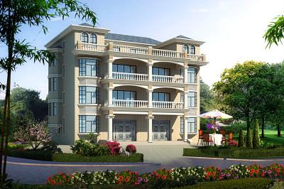 农村四层双拼别墅房屋设计图,含外观效果图片