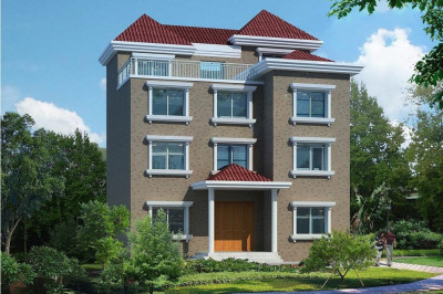 130平四层农村自建别墅设计图,含图纸和效果图。