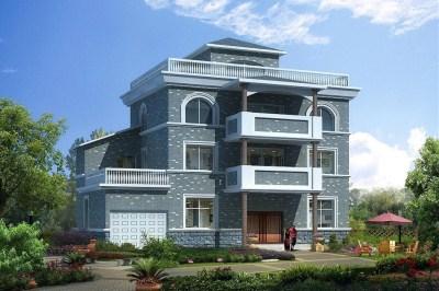 农村三层半别墅自建房设计图,外观造型比较独特