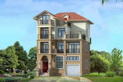 105平农村四层别墅房屋设计图,带车库户型