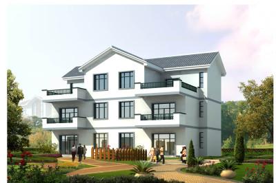 简洁兄弟三层双拼别墅设计图,外观朴素,造价较低。