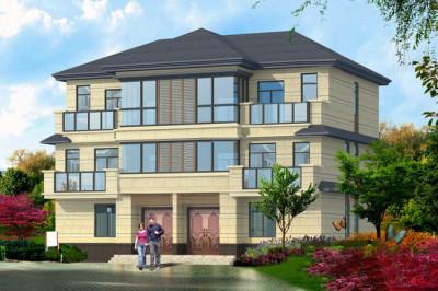 农村小户型三层双拼自建房屋设计图,含设计图纸和外观图。