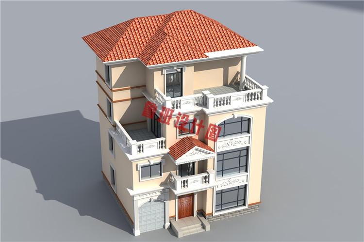 四层农村复式楼房设计鸟瞰图