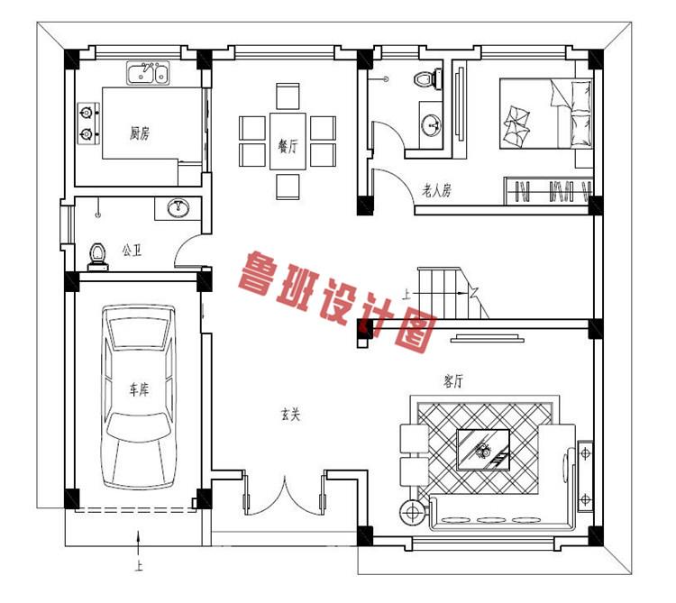 四层农村复式楼房设计一层户型图