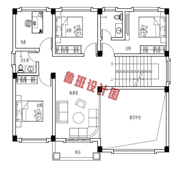 四层农村复式楼房设计二层户型图