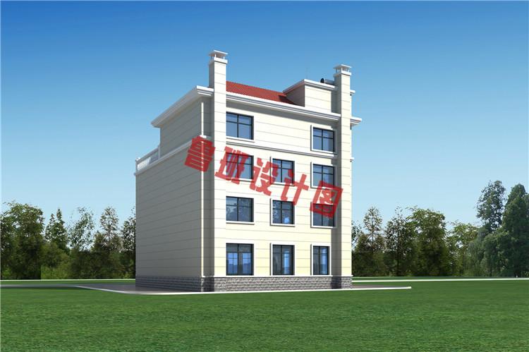 160平农村四层别墅设计背面图