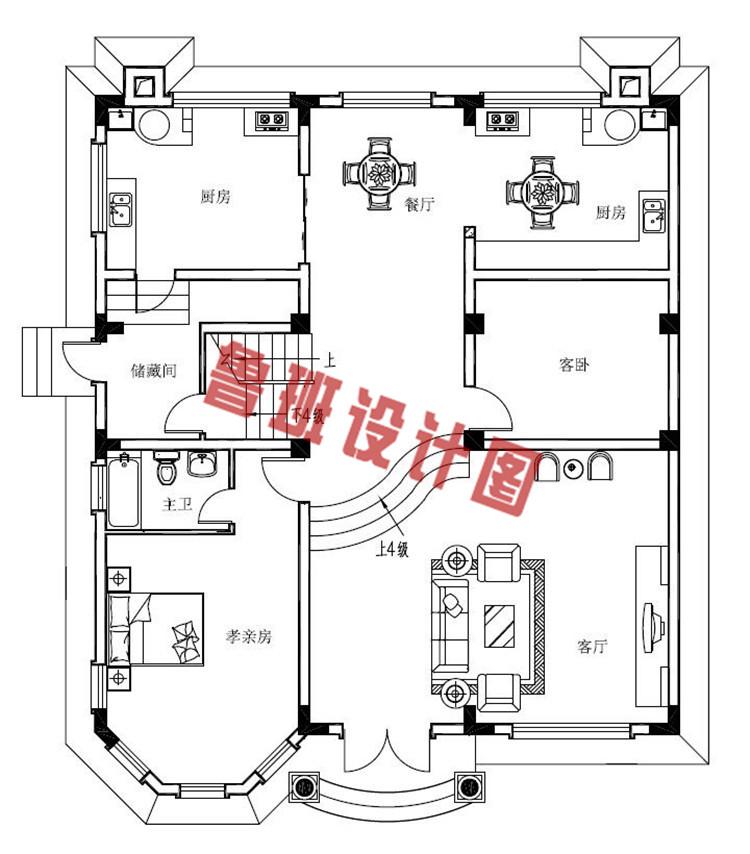 160平农村四层别墅设计一层户型图