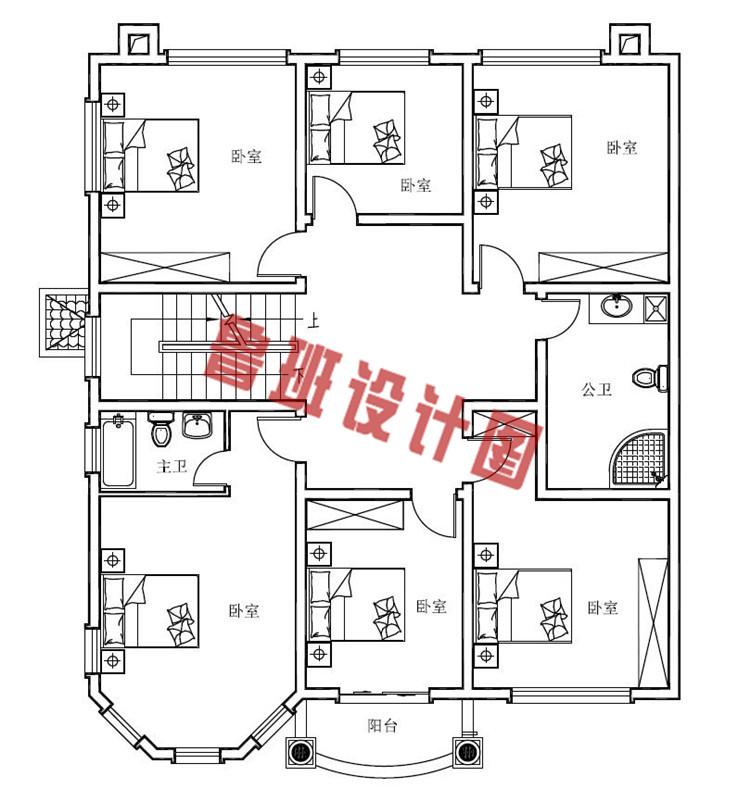 160平农村四层别墅设计二层户型图