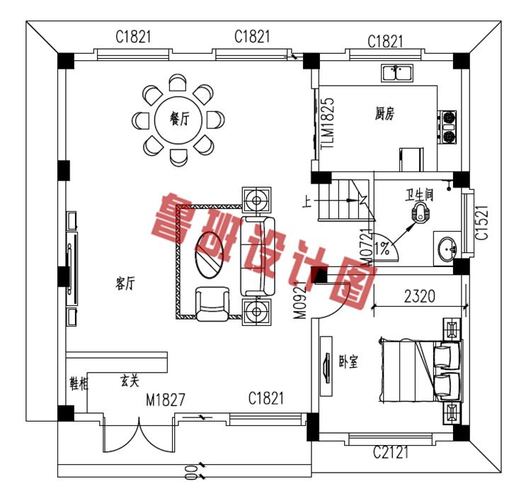 简单实用农村四层别墅房屋设计一层户型图