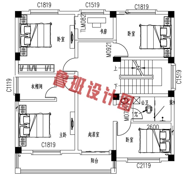简单实用农村四层别墅房屋设计二层户型图