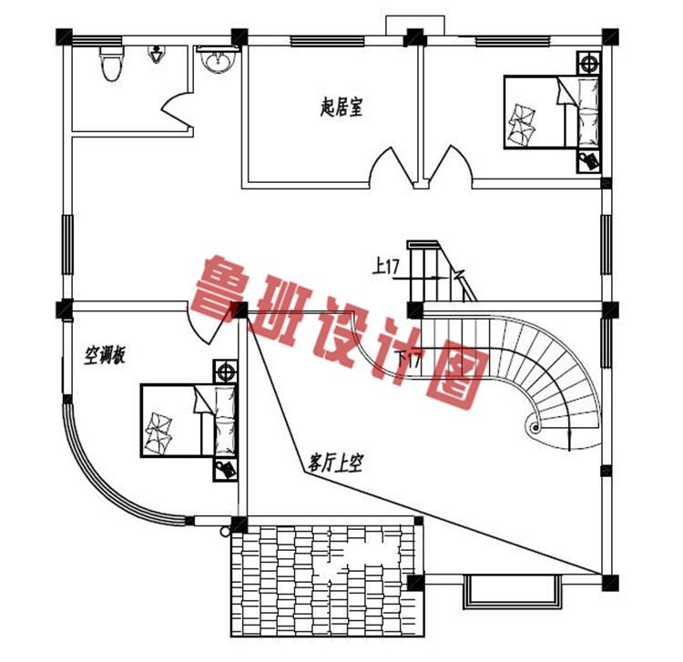 农村四层小楼设计二层户型图