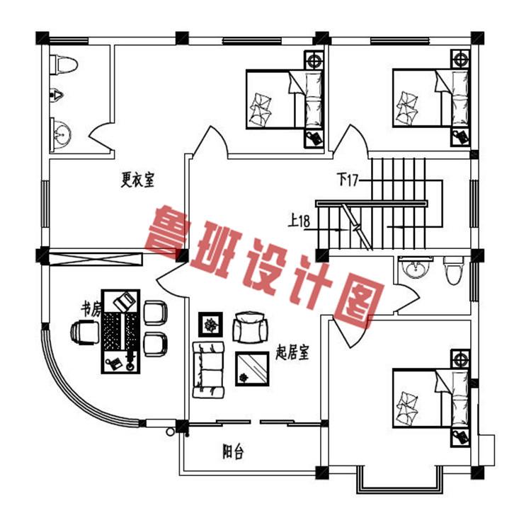 农村四层小楼设计三层户型图