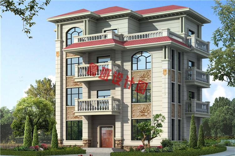 欧式高端大气四层别墅自建房屋设计效果图
