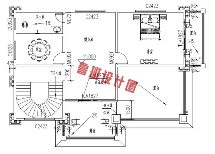 欧式高端大气四层别墅自建房屋设计四层户型图