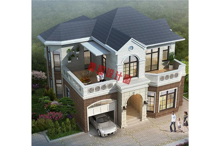 时尚精美乡村自建二层小洋楼鸟瞰图