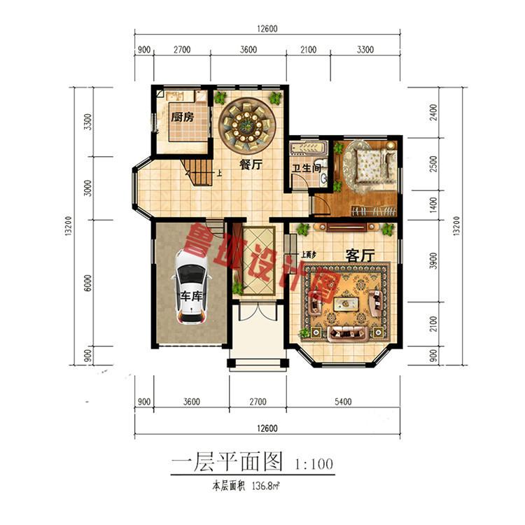 时尚精美乡村自建二层小洋楼一层户型图