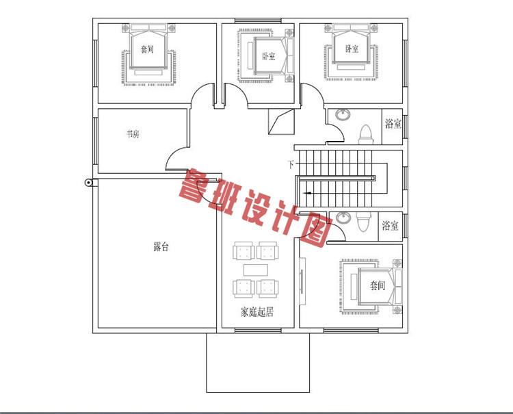占地140平的二层别墅二层户型图