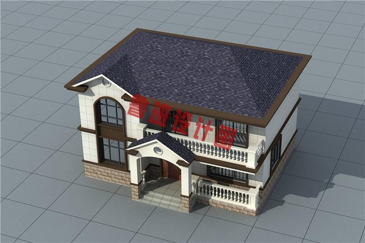 二层新中式小楼设计鸟瞰图