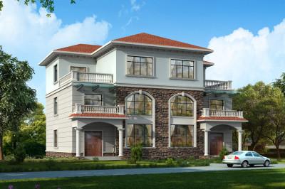 三层农村双拼自建别墅设计图,共240平,单户120平,外观漂亮大气