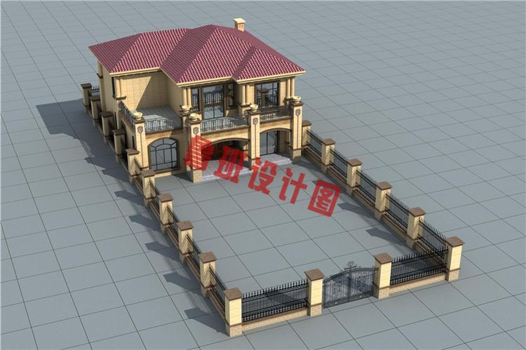 华丽温馨的二层小洋楼设计外观图