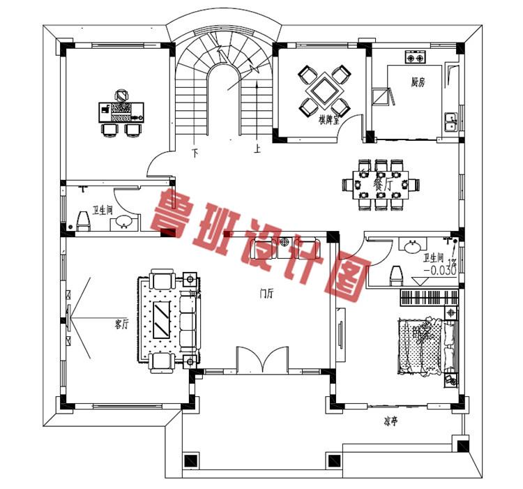 华丽温馨的二层小洋楼设计一层户型图