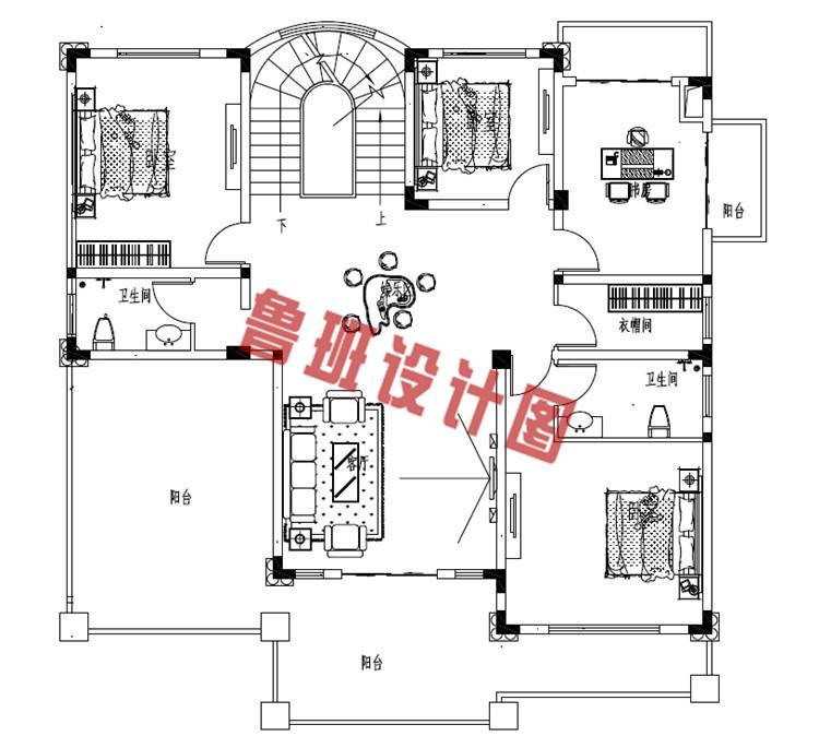 华丽温馨的二层小洋楼设计二层户型图