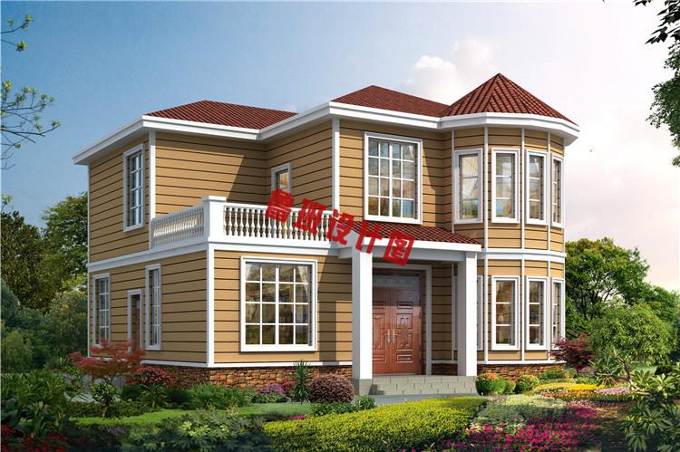 新型农村二层小别墅自建房效果图