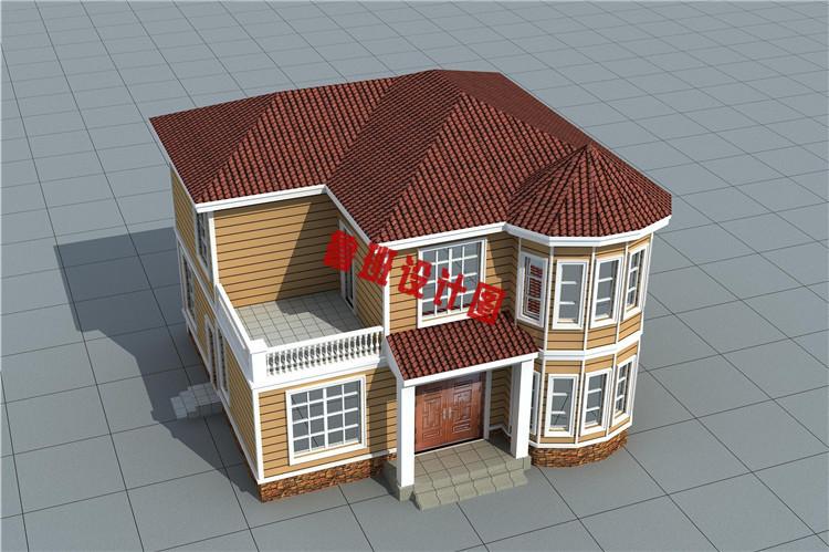 新型农村二层小别墅自建房鸟瞰图