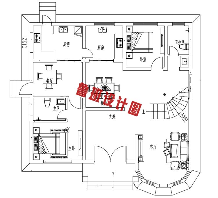 新型农村二层小别墅自建房一层户型图