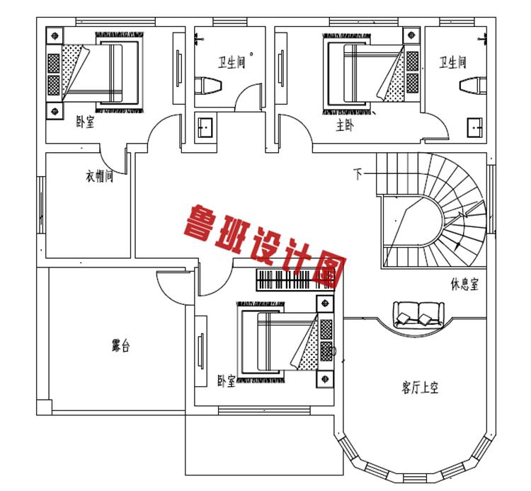 新型农村二层小别墅自建房二层户型图