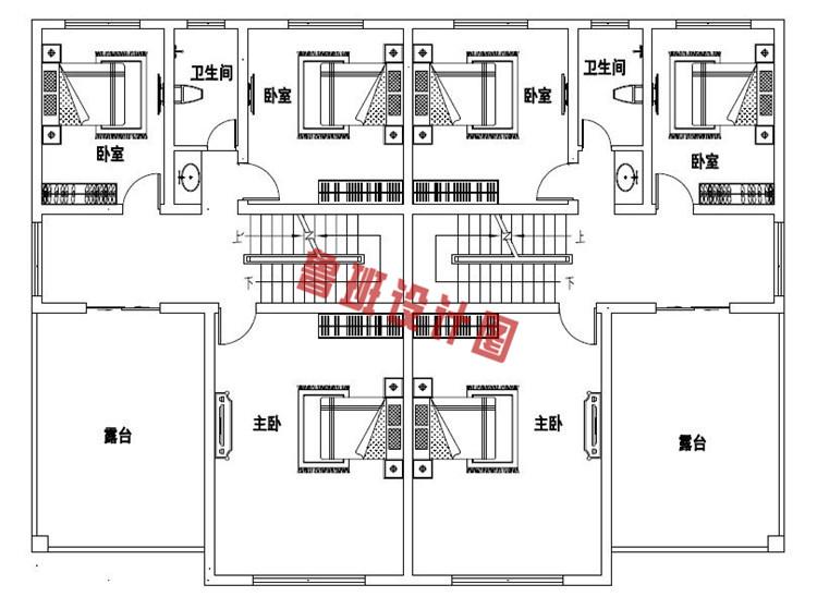 最新三层双拼自建别墅设计三层户型图