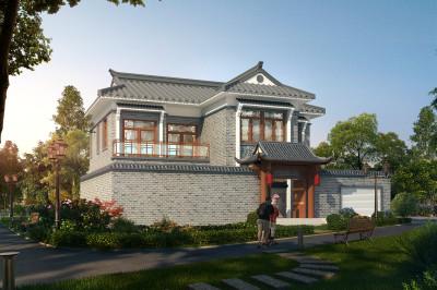 带院子二层中式古典别墅设计图,还带地下室15米×19米